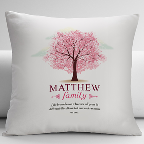 Personalized Pink Leaves Family Tree Decorative Cushion Cover