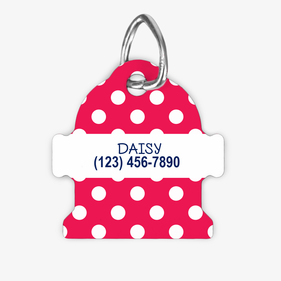 Personalized Pink Polka Dot Fire Hydrant Dog ID Tag