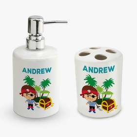 Personalized Pirate Soap Dispenser and Toothbrush Holder Set