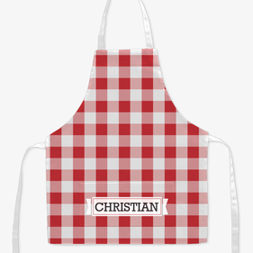 Personalized Plaid Kids Craft Apron