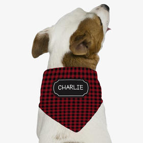 Personalized Plaid Dog Bandana