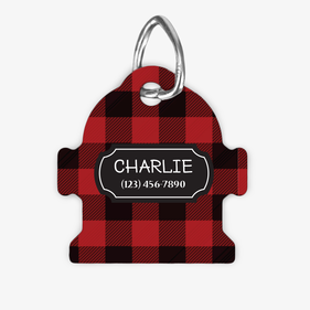 Personalized Plaid Fire Hydrant Dog ID Tag