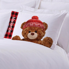 Personalized Plaid Teddy Bear Pillowcase