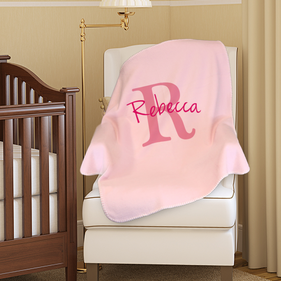 Personalized Name & Initial Plush Baby Blanket