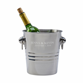 Personalized Polished Finished Wine Cooler With Ring Style Handles