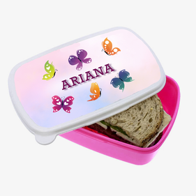 Personalized Butterfly Pink Plastic Lunch Box
