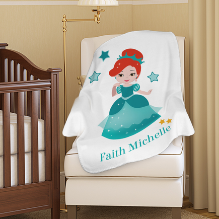 Personalized Princess Character Plush Baby Blanket