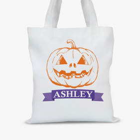 Personalized Pumpkin Head Large Trick or Treat Tote Bag