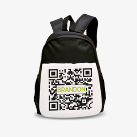 Personalized QR Code Kids Black Backpack