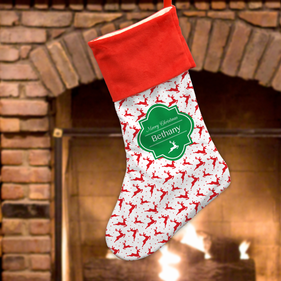 Personalized Reindeer Christmas Stocking