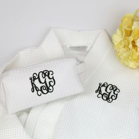 Personalized Robe and Makeup Bag Set with Monogram Applique