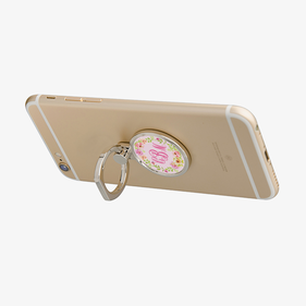 Personalized Round Floral Monogram Mobile Phone Ring Holder