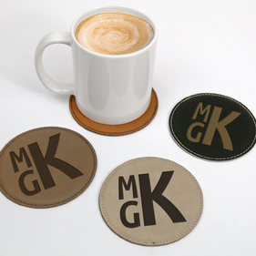 Personalized Block Monogram Round Leatherette Coaster