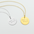 Personalized w/ Two Names Round Shape Sterling Silver Necklace