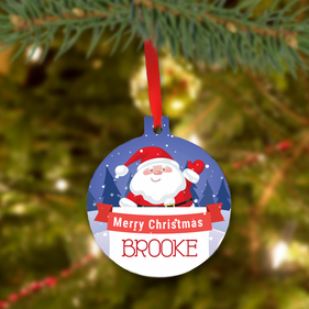 Personalized Metal Santa Merry Christmas Tree Ornament