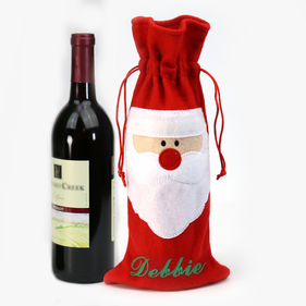 Personalized Santa Wine Bottle Gift Bag