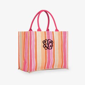 Personalized Savannah Stripe Orange Market Tote
