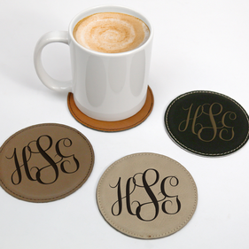 Personalized Script Monogram Round Leatherette Coaster