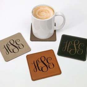 Personalized Script Monogram Square Leatherette Coaster
