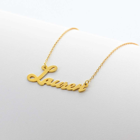 Yellow or Rose Gold over Silver Script Name Necklace Lauren Style