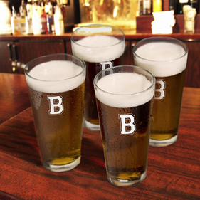 Personalized One Initial Pint Glasses