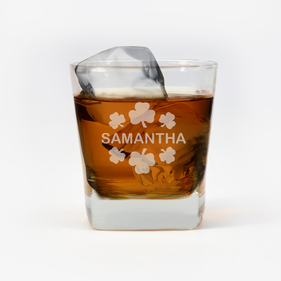 Personalized Shamrock Whiskey Glass