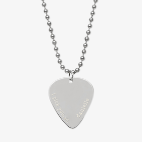 Personalized Silver I Pick You Guitar Pick Necklace