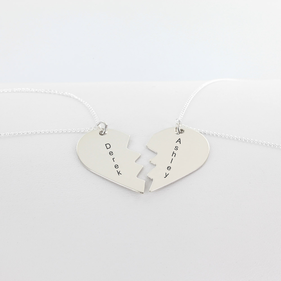 Personalized w/ Names Set of Two Silver Mizpah Necklaces