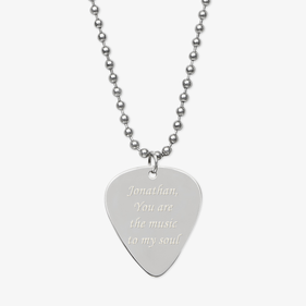 Personalized Silver Music to My Soul Guitar Pick Necklace