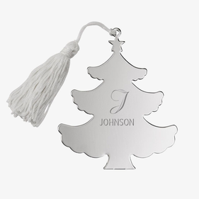 Personalized Silver Plate Christmas Tree Ornament