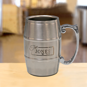 Personalized Silver Stainless Steel Barrel Mug 17 oz
