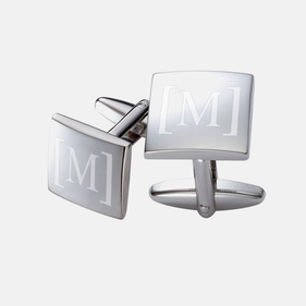 Personalized Single Initial Square Cuff Links