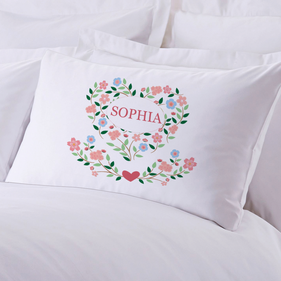 Exclusive Sale - Personalized Sleeping Floral Hearts Pillow Case
