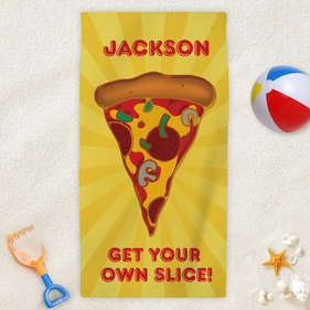 Personalized Sliced Pizza Kids Beach Towel