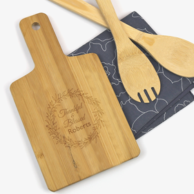 "Custom Thankful & Blessed Serving Board <p><span style=""color:#ff0000;"">[WOODEN SERVING BOARD IS CURRENTLY ON BACKORDER]"