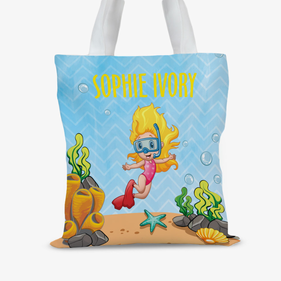Personalized Snorkeling Kids Beach Tote Bag