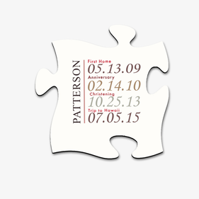 Personalized Special Dates Puzzle Piece Wall Sign