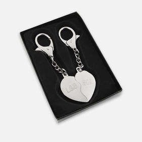 Personalized Split Heart Key Chain