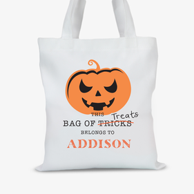Personalized Spooky Pumpkin Halloween Large Trick or Treat Tote Bag