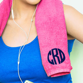 Personalized Block Monogram Sport Towel