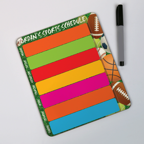 Personalized Sports Schedule Dry Erase Board