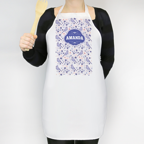 Personalized Spring Flowers and Birds Adult Apron