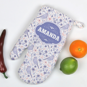 Personalized Spring Flowers and Birds Oven Mitt