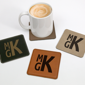 Personalized Block Monogram Square Leatherette Coaster