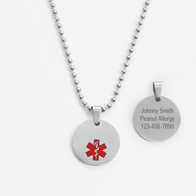 Personalized Stainless Steel Medical Alert ID Necklace