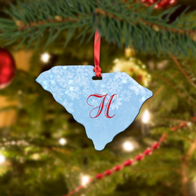 Personalized Metal Initial State Christmas Ornament