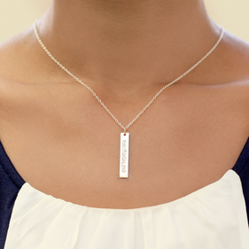 Personalized Sterling Silver Bar Name Necklace