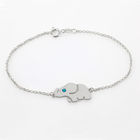 Personalized Sterling Silver Elephant Bracelet with Swarovski Birthstones