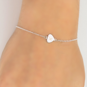 Personalized Sterling Silver Heart Initial Bracelet