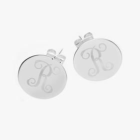 Personalized Sterling Silver Initial Stud Earrings